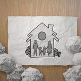 Famiglia e casa di tiraggio della mano immagine stock libera da diritti