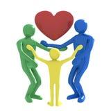 Famiglia e cuore Fotografia Stock Libera da Diritti