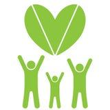Famiglia e cuore di Eco Fotografia Stock