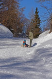 Famiglia e divertimento di inverno Fotografia Stock Libera da Diritti