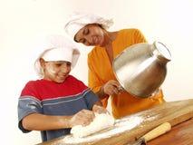 Famiglia e pizza. Fotografie Stock