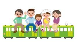 Famiglia e treno felici Fotografie Stock