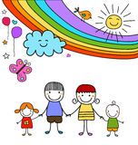 Famiglia ed arcobaleno felici Fotografie Stock Libere da Diritti