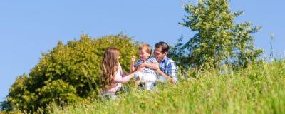 Famiglia in erba sul prato immagine stock libera da diritti