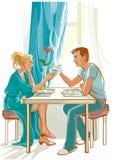 Famiglia felice alla tavola di mattina royalty illustrazione gratis