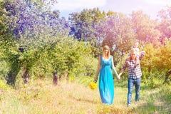 Famiglia felice che cammina insieme immagine stock