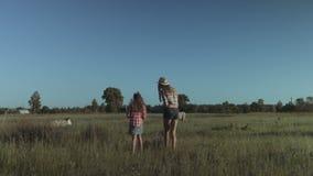 Famiglia felice che cammina nel campo di estate in campagna video d archivio