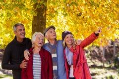 Famiglia felice che distoglie lo sguardo parco Fotografia Stock