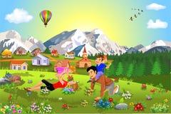 Famiglia felice che gode delle vacanze estive e del tempo libero illustrazione di stock