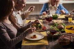 Famiglia felice che gode insieme della cena Immagine Stock Libera da Diritti