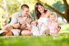 Famiglia felice che gode nella sosta Fotografia Stock Libera da Diritti