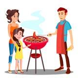 Famiglia felice che ha barbecue nel vettore all'aperto Illustrazione isolata illustrazione vettoriale