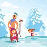 Famiglia felice che pattina insieme sulla pista di pattinaggio sul ghiaccio in giardino di inverno Fotografia Stock