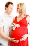 Famiglia felice che prevede il loro bambino Fotografia Stock Libera da Diritti