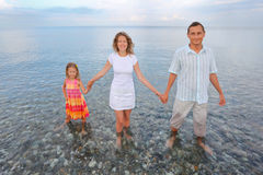 Famiglia felice che si leva in piedi ginocchio-profonda in mare sulla spiaggia Fotografia Stock