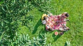 Famiglia felice con i bambini che hanno picnic in parco, genitori con i bambini che si siedono sull'erba del giardino e che mangi fotografie stock