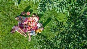 Famiglia felice con i bambini che hanno picnic in parco, genitori con i bambini che si siedono sull'erba del giardino e che mangi fotografia stock libera da diritti