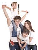 Famiglia felice con il figlio e la figlia. Fotografia Stock Libera da Diritti