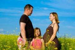 Famiglia felice con le nubi e l'erba Fotografia Stock