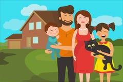 Famiglia felice con una nuova casa nei precedenti Fotografie Stock