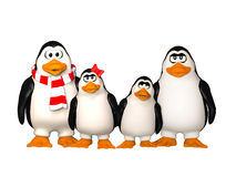 Famiglia felice dei pinguins Fotografie Stock Libere da Diritti