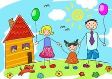 Famiglia felice del disegno del bambino con il cane Padre, madre, derivato e la loro casa Immagine Stock