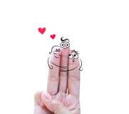 Famiglia felice del dito Fotografia Stock