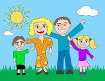 Famiglia felice del fumetto Immagine Stock