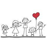 Famiglia felice del fumetto del disegno della mano Immagine Stock