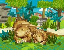 Famiglia felice del fumetto dell'illustrazione dei triceratopses dei dinosauri per i bambini Fotografia Stock