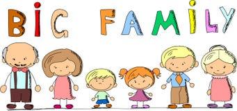 Famiglia felice del fumetto, vettore Immagine Stock