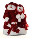 Famiglia felice del pupazzo di neve Immagine Stock Libera da Diritti