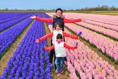 Famiglia felice della madre e dei bambini sul giacimento di fiori della molla, vacanza con i bambini nei Paesi Bassi immagini stock libere da diritti