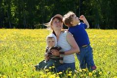 Famiglia felice della madre e dei due figli Fotografia Stock Libera da Diritti