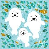 Famiglia felice delle guarnizioni e del pesce bianchi su un fondo blu Fotografia Stock