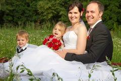 Famiglia felice di cerimonia nuziale Immagine Stock