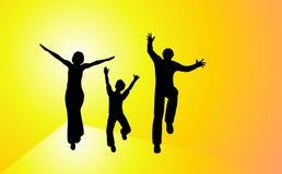 Famiglia felice di tramonto Fotografia Stock Libera da Diritti