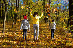 Famiglia felice divertendosi nella foresta di autunno Fotografia Stock