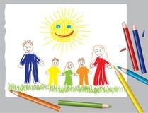 Famiglia felice ed il sole Immagini Stock