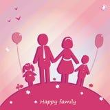 Famiglia felice esterna Vector l'illustrazione con il posto per testo Fotografia Stock Libera da Diritti