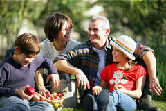 Famiglia felice in iarda Immagini Stock Libere da Diritti