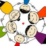 Famiglia felice insieme, blocco per grafici per il vostro disegno Fotografia Stock Libera da Diritti