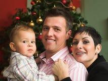 Famiglia felice a natale Fotografia Stock