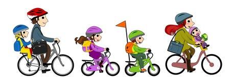 Famiglia felice nel bycicle Fotografie Stock