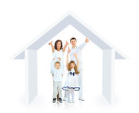 Famiglia felice nella loro propria casa Fotografia Stock