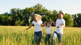 Famiglia felice: Padre, madre e figlio, mantenere nel campo vestito in magliette bianche archivi video