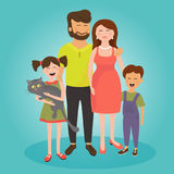 Famiglia felice Padre, madre, figlio e figlia Immagine Stock Libera da Diritti