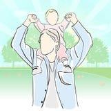 Famiglia felice, paternità illustrazione di stock