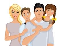 Famiglia felice realistica Fotografia Stock