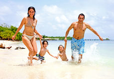 Famiglia felice sulla vacanza Fotografia Stock
